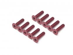 '' 'All' 'Aluminum 7075 M3x12 Hex Socket Flat Head Screws (10) Red'